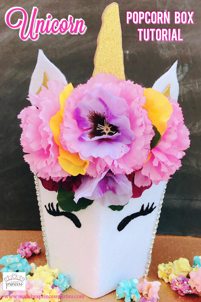 Unicorn Popcorn Box Tutorial @madebyaprincess #popcornboxparty2017
