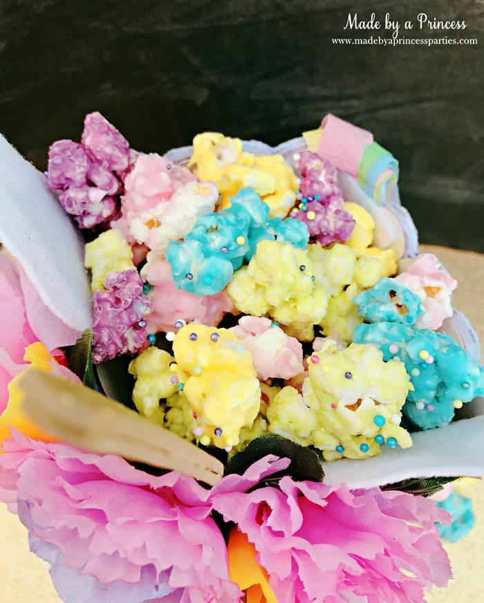 Unicorn Popcorn Box Tutorial chocolate rainbow popcorn @madebyaprincess #popcornboxparty2017