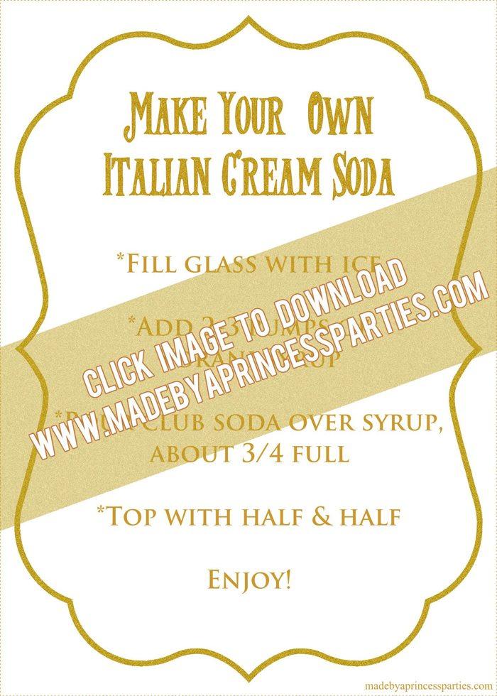 How to Make Italian Cream Soda Party Idea Printable Recipe