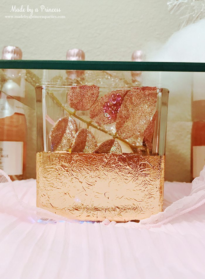 Winter WINEderland Holiday Party Copper Leafed Vase