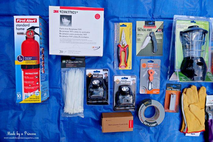 Unique School Silent Auction Idea Emergency Preparedness Kit includes fire extinguisher and tools