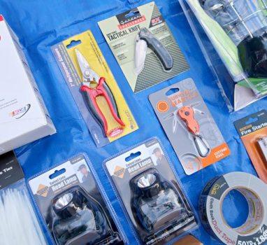 Unique School Auction Idea Emergency Preparedness Kit includes headlamps and zip ties