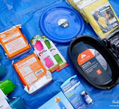 Unique School Auction Idea Emergency Preparedness Kit includes utensils and plates