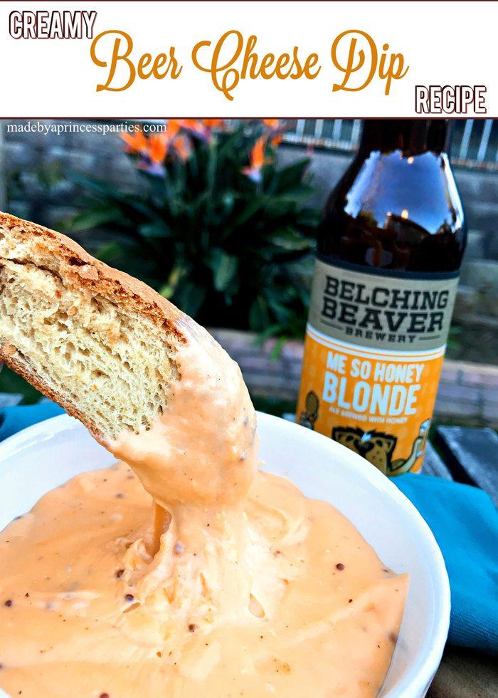 Creamy Beer Cheese Dip Recipe @madebyaprincess #beerdip #beercheesedip #footballsnacks #gamedaysnacks