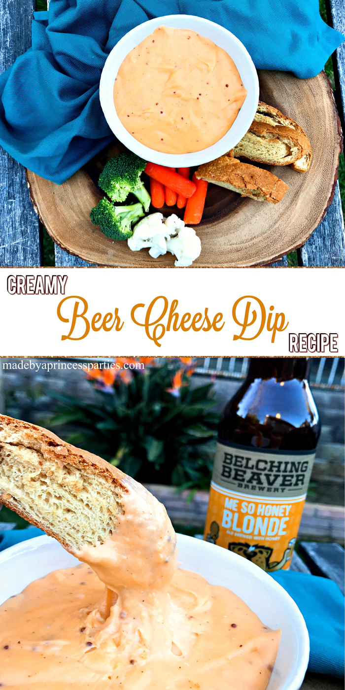 Creamy Beer Cheese Dip Recipe made with honey beer @madebyaprincess #beerdip #beercheesedip #footballsnacks #gamedaysnacks