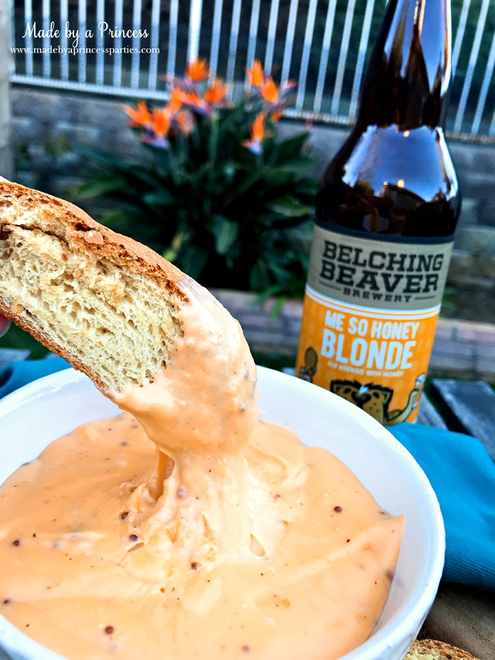Creamy Beer Cheese Dip Recipe with Belching Beaver Me So Honey Blonde Beer served with fresh sourdough bread @madebyaprincess #beerdip #beercheesedip #footballsnacks #gamedaysnacks