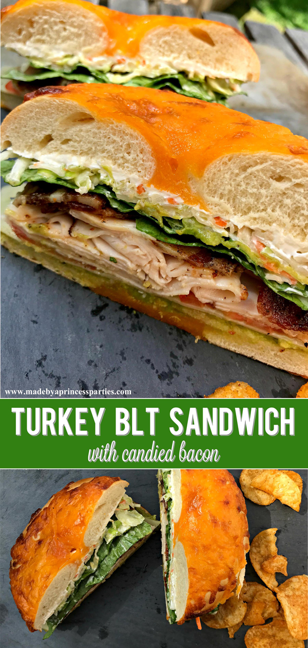 Best Turkey BLT Sandwich Recipe with candied bacon is sure to become your new favorite via @madebyaprincess #turkeysandwich #blt #bltsandwich #bestsandwich #recipe #turkeyblt #madebyaprincess