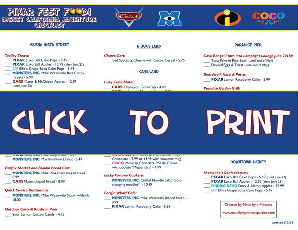 Disney California Adventure Pixar Fest Food Checklist @madebyaprincess #pixarfestfood #pixarfest