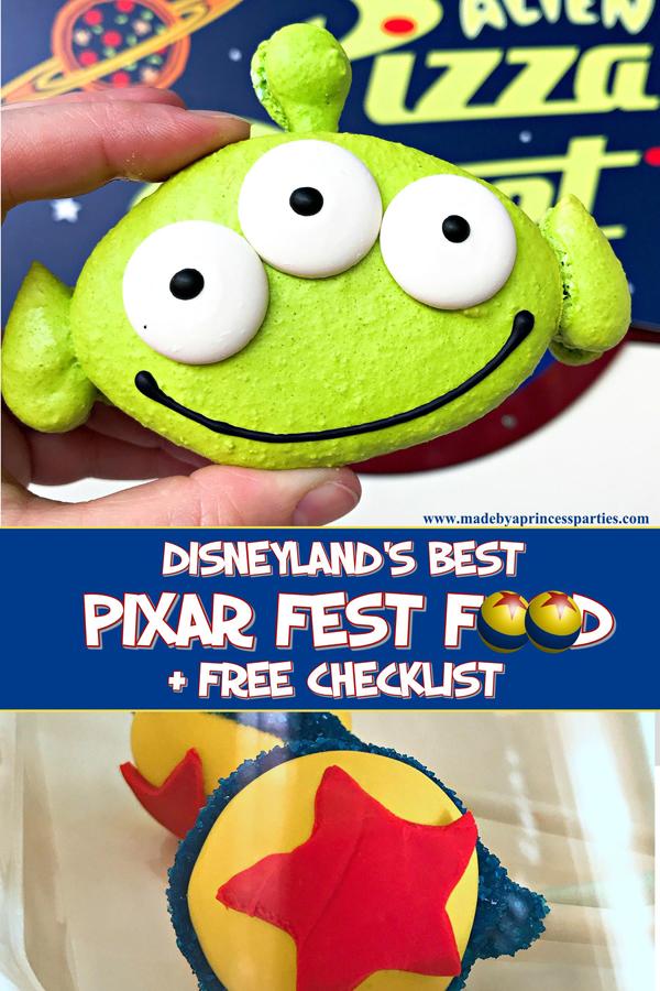 Disneylands Best Pixar Fest Food Checklist download and take with you #pixarfestfood #disneylandfood #disneyfood #madebyaprincess