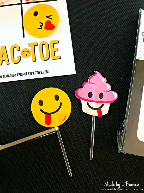 Emoji Tic Tac Toe Printable Board Game snip stick from cupcake picks