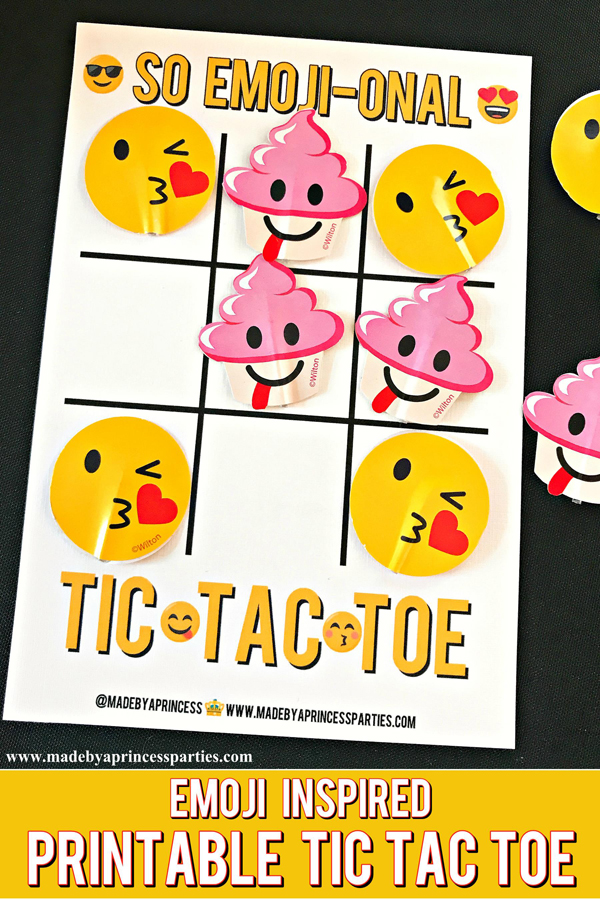 Emoji Tic Tac Toe Printable Board Game use Emoji cupcake toppers as game pieces #emojiparty #tictactoe #partygame @madebyaprincess