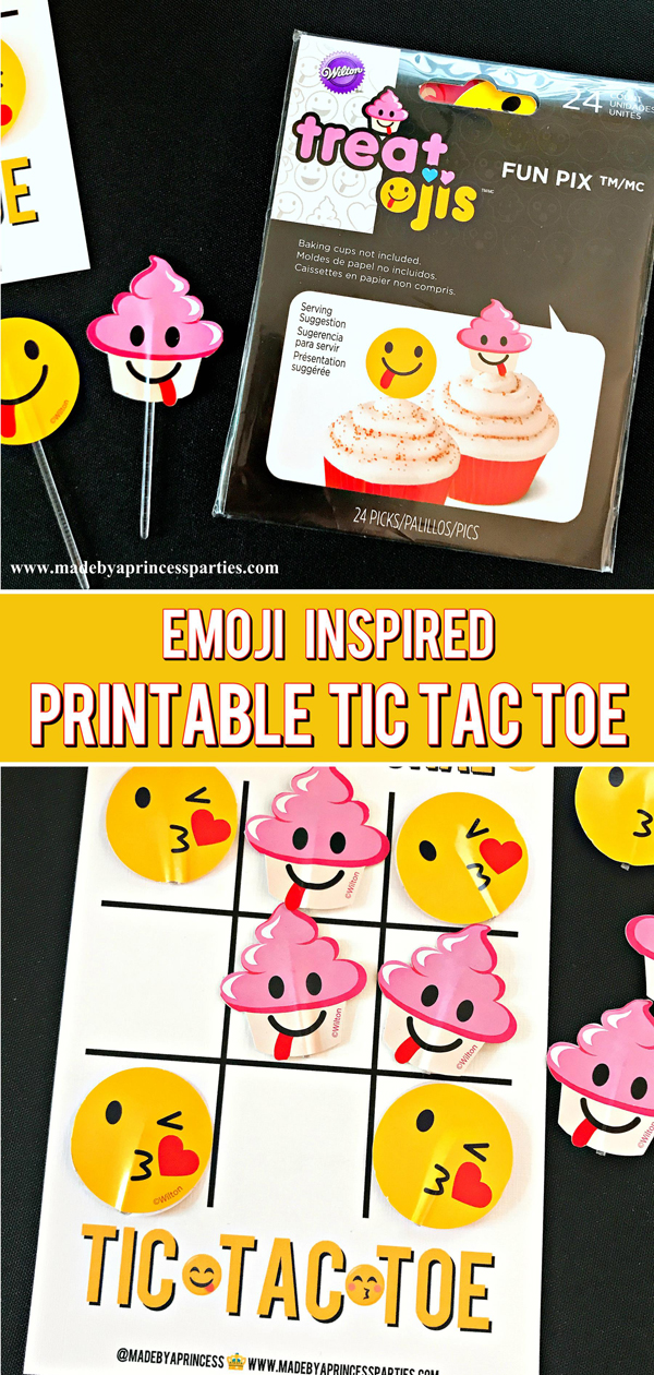 Emoji Tic Tac Toe Printable Board Game. Perfect game for a party #emojiparty #tictactoe #partygame @madebyaprincess