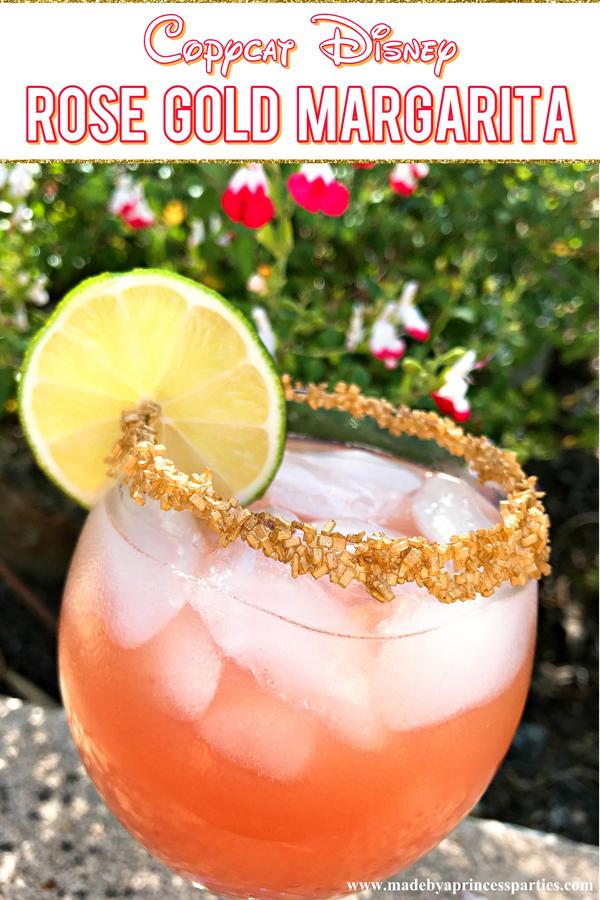 Copycat Disney Rose Gold Margarita just like Barefoot Pool Bar at Polynesian Resort #disneycocktail #rosegoldmargarita #copycatdisneyrecipe @madebyaprincess