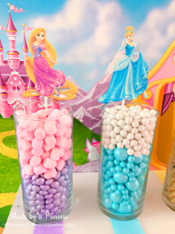 Disney Princess Party Ideas Tangled Rapunzel and Cinderella Candy
