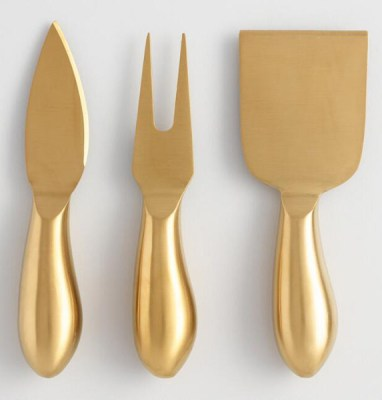 Golden Holiday Entertaining Essentials gold cheese set