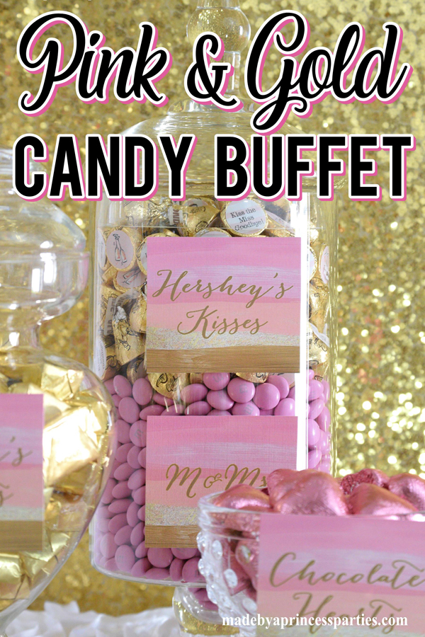Pink and Gold Party Candy Buffet Ideas fill glass apothecary jars with shimmery pink and gold candy