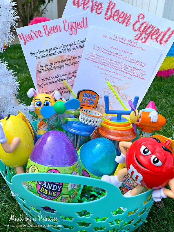 You've Been Egged Poem Printable Easter Activity basket of candy with printables