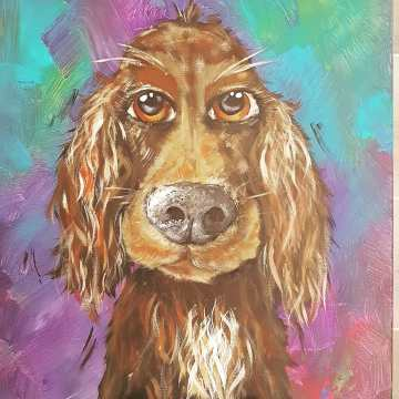 Chester the dog painted