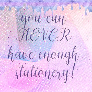 you can never have enough stationery text on digital pink glitter paper background