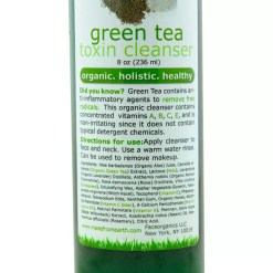 green tea cleaser close Green Tea Toxin Cleanser <h3>Hypoallergenic non-irritating cleanser to reveal a fresher layer.</h3> Green Tea is a base antioxidant. Our cleanser is enhanced with vitamins A, B, C and E, and, is hypoallergenic and non-irritating for people with sensitive skin. The Aloe vera in the cleanser combines with green tea to provide a soft antioxidant boost that eliminates toxin build up from dirt, oil and other environmental toxic pollutants. This product does not contain the typical surfactant or detergent ingredients that most cleansing creams contain; it is a chemical-free gentle cleanser. 8 oz.