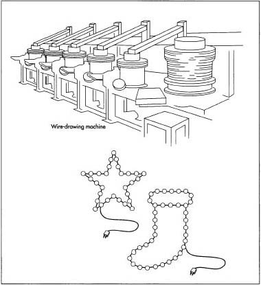 Copper wire is used in the manufacture of holiday lights. Spools of wire are coated with PVC plastic that is resistant to sunlight and to hot or cold temperatures. The series-parallel construction is made with twin wires. One wire is cut to the full length of the light string. At one end, the wall plug is molded to the wire; the end connector is molded to the other end of the string. The second length of wire is assembled with the lamp holders as the links between each pair of segments. The wires are connected with a copper metal contact or flange that is contact-welded (heated and melded) to the wire.