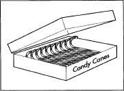 A box of candy cones.