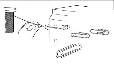 The simple threading of a paper clip machine.