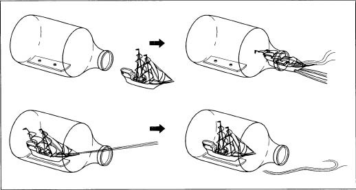 The ship is constructed outside of the bottle, then gently placed inside and raised.