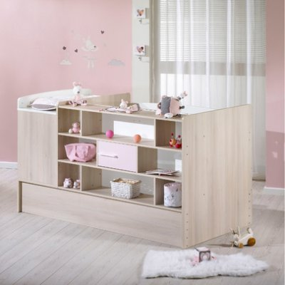 Sauthon Meubles Lit chambre 70x140 transformable Milk rose  Made In Bb