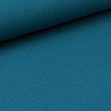 double gaze de coton pas cher coloris petrole pour creation habillement chez made in tissus