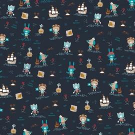 tissu popeline bio motifs pirates fond bleu marine gots tissu popeline bio motifs pirates fond bleu marine gots