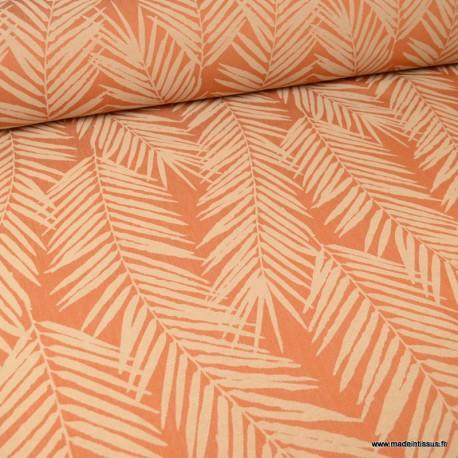 tissu ameublement jacquard terracotta motifs feuillage theme tasmanie
