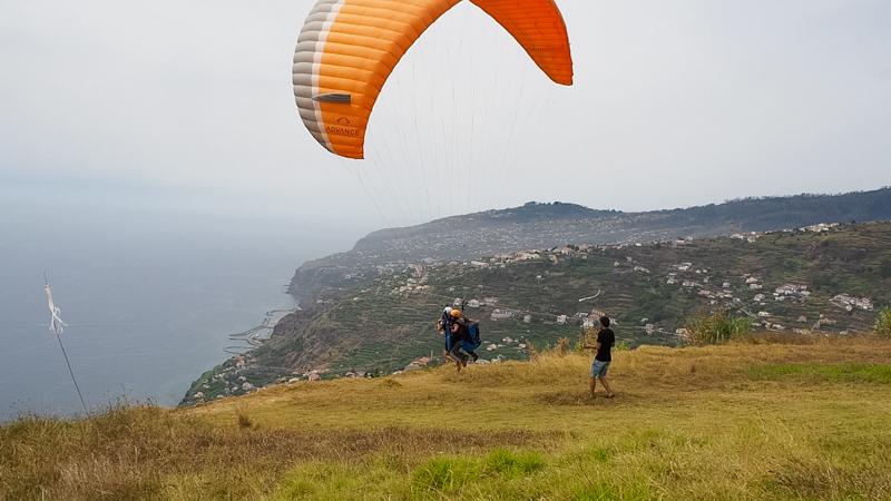 paragliding tandem jump at arco da calheta