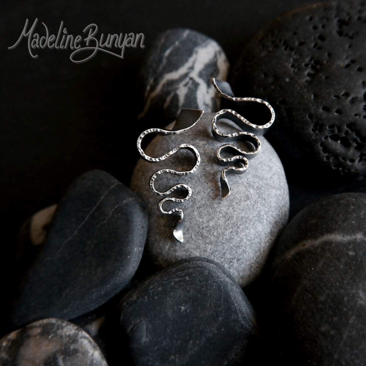 Oxidised Large Wave stud Earrings, Handmade Sterling Silver
