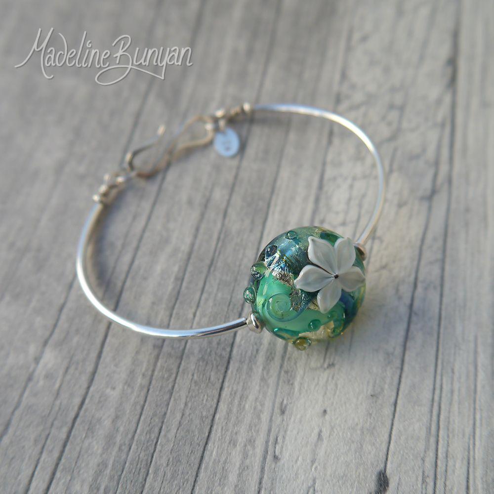 Water Garden, Lampwork bead, simple bangle bracelet, lampwork bead, sterling silver