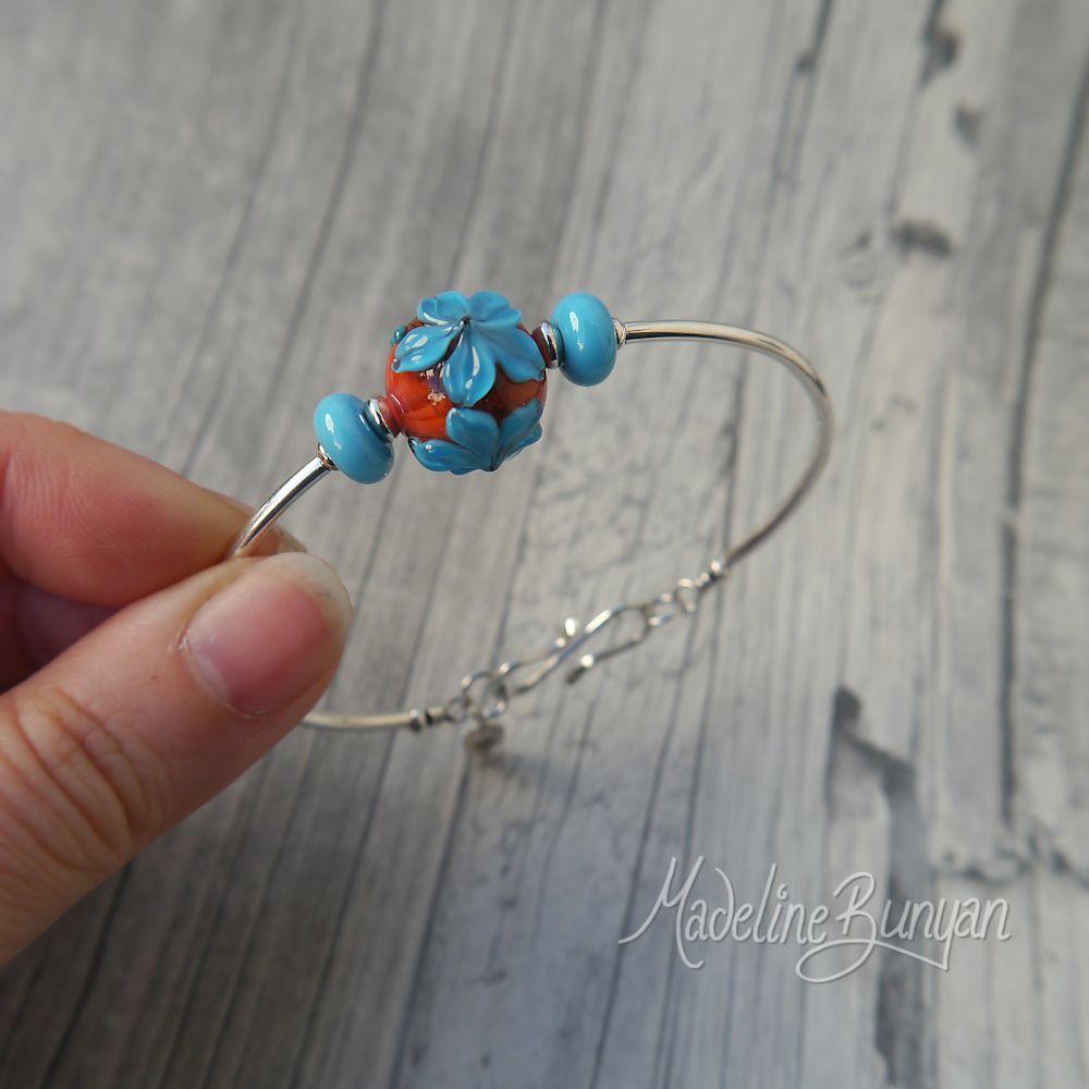 Orange and Turquoise flower, simple bangle bracelet, lampwork bead, sterling silver