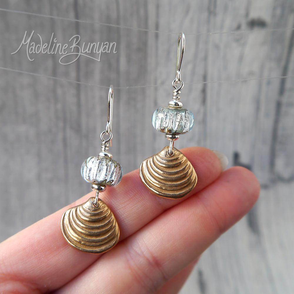 Bronze Seashell and vintage silver lampwork glass drop earrings Sterling Silver, Beach, Sea, Ocean