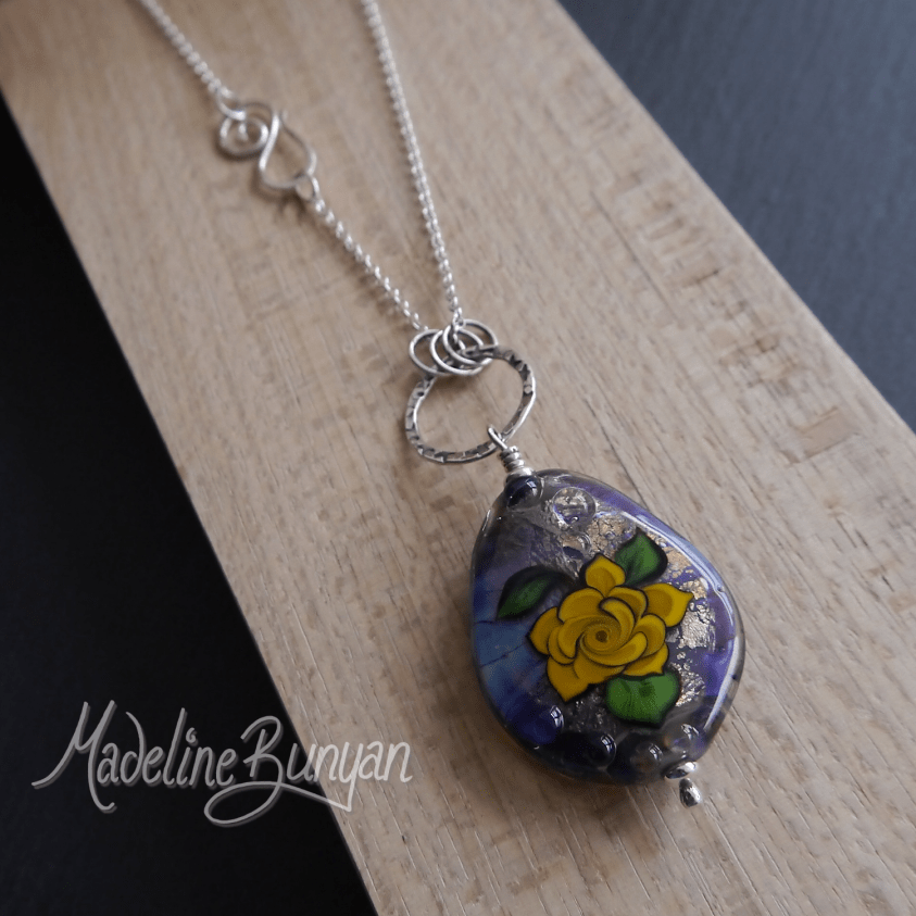 Tattoo Rose Pendant, Blue and Yellow Lampwork, Sterling Silver