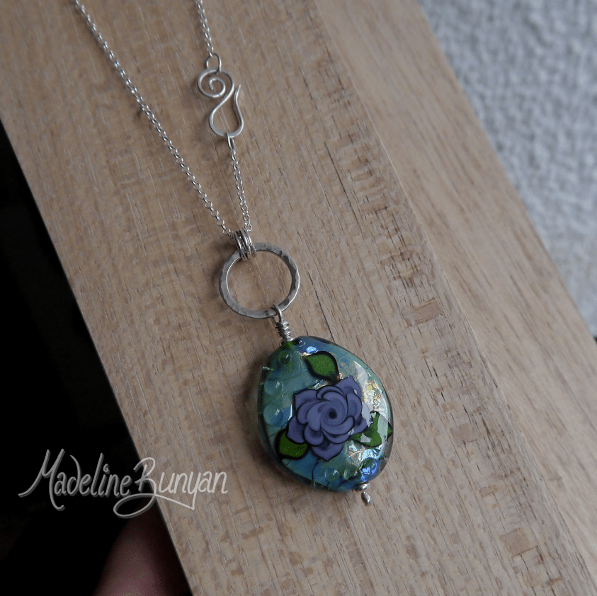 Tattoo Rose Pendant, Turquoise and Purple Lampwork, Sterling Silver