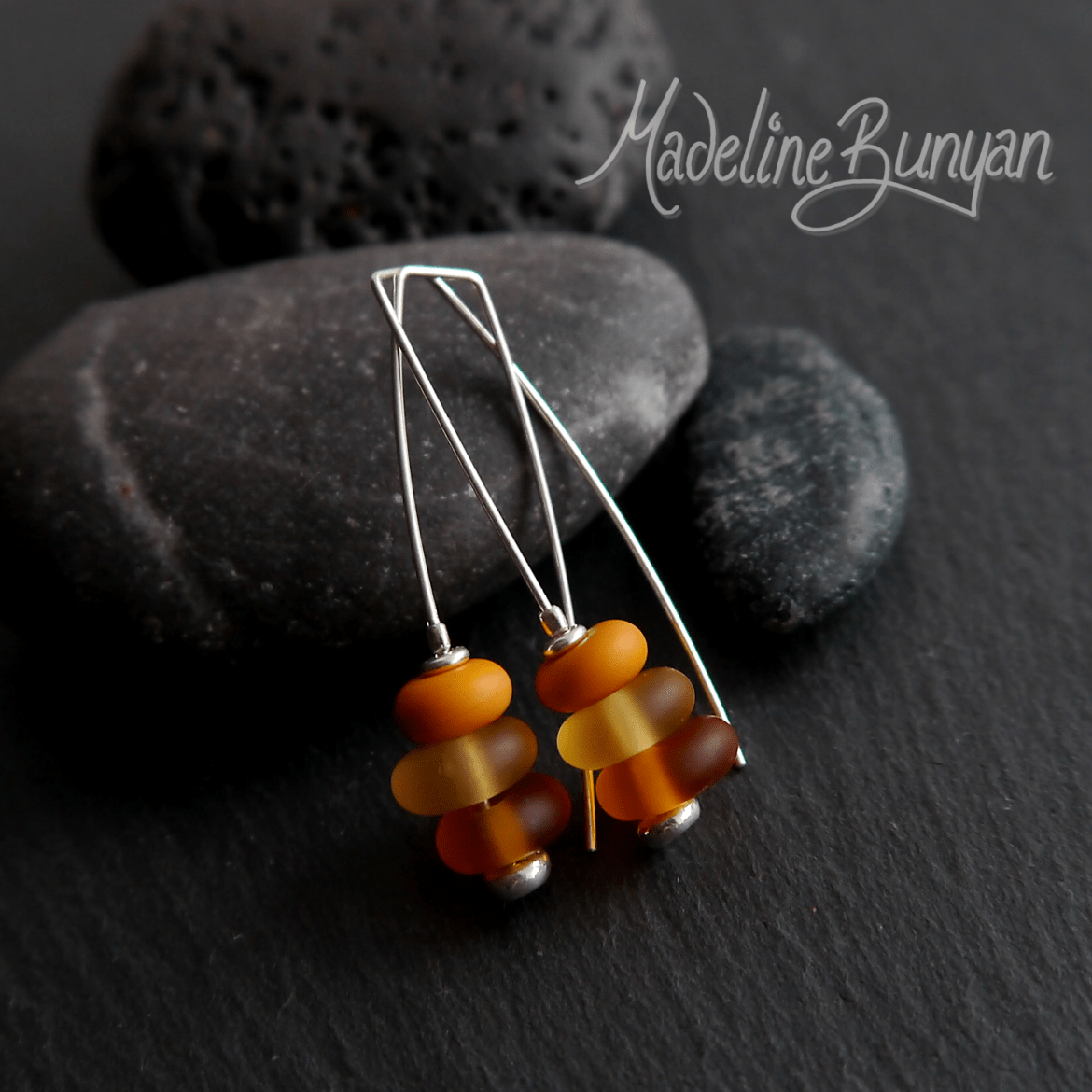 Glass Pebble Earrings, Yellow, Sterling Silver, Hook - In Style