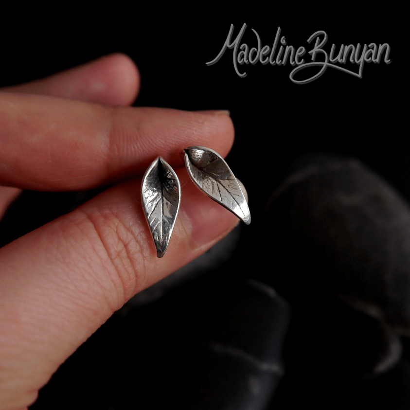 Leaf Earrings, Sterling Silver, Small Studs