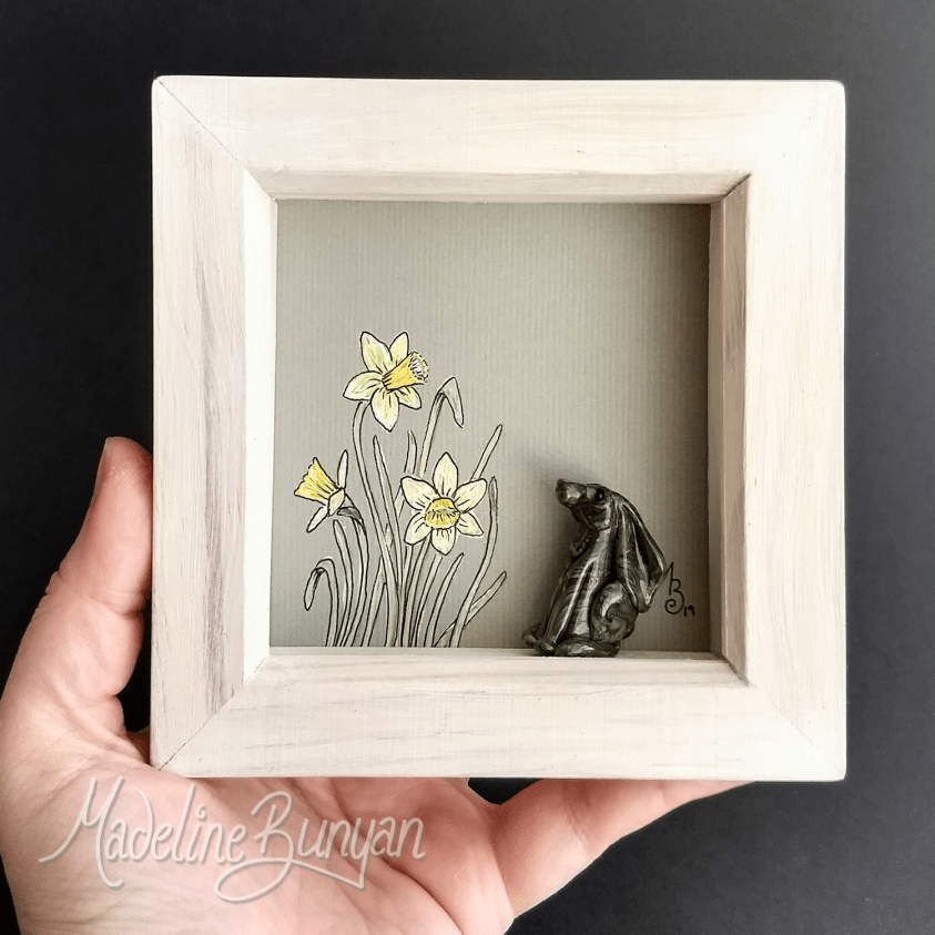 Daffodils Hare in a Square - Framed bead artwork, original drawing, handmade glass bead