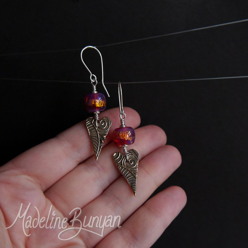 Hot Pink & Orange lampwork glass and Bronze Heart Drop earrings Sterling Silver