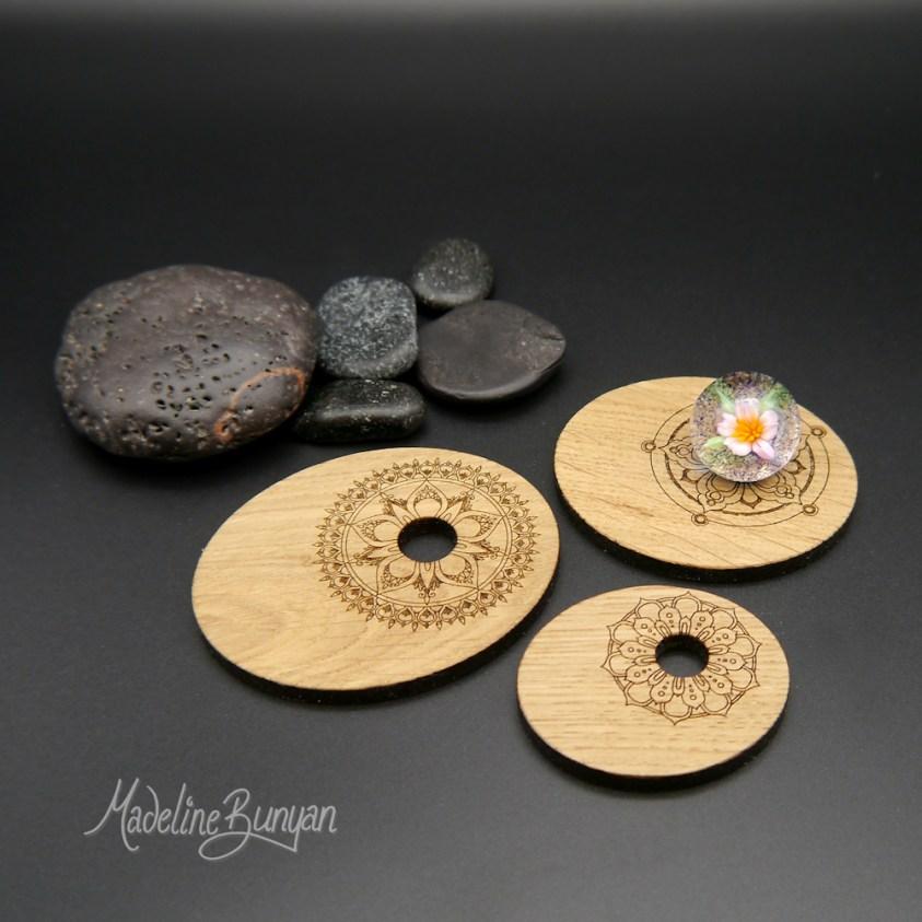 Marble Display Stands, Small Medium or Large, Laser Engraved Oak, Wood Mandala Design