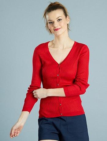 HAUL Kiabi gilet-col-v-en-maille-chaussette-rouge-femme-ve555_3_fr4