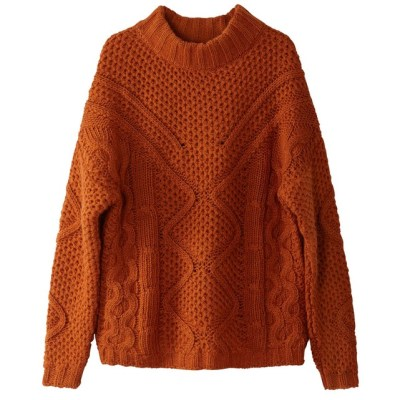 Pull col montant grosse maille