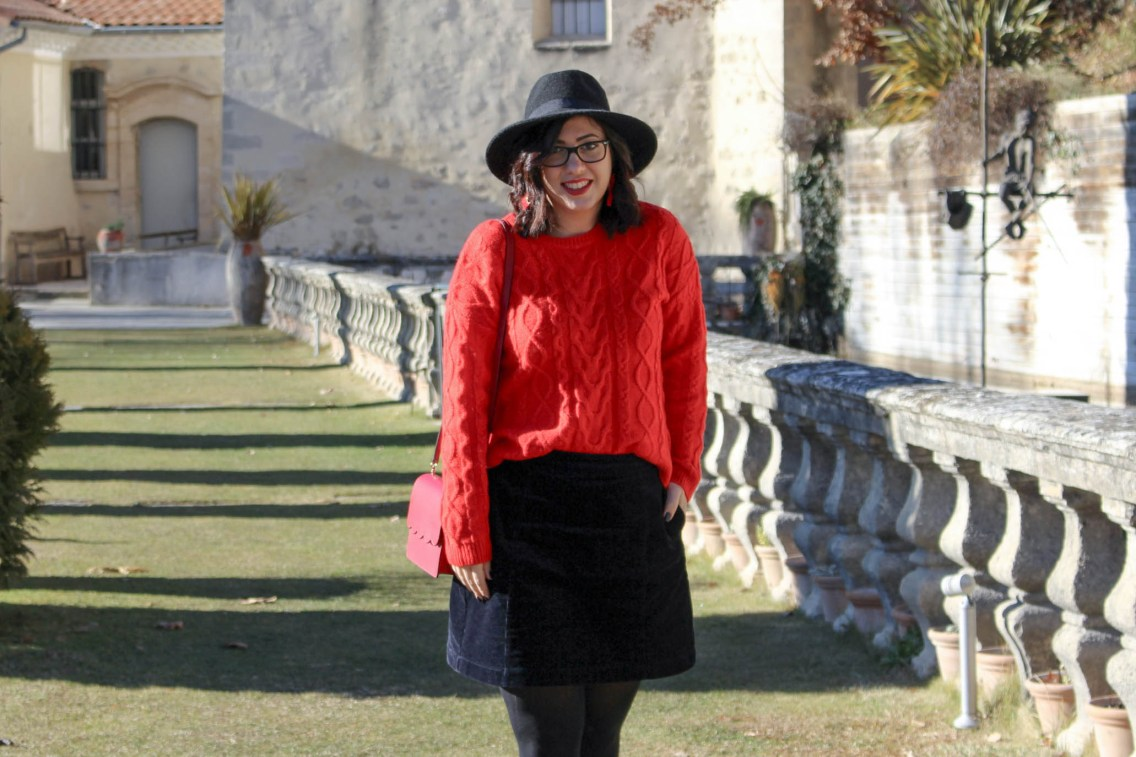 pull rouge torsade pimkie solde look hiver 10 mademoiselle e