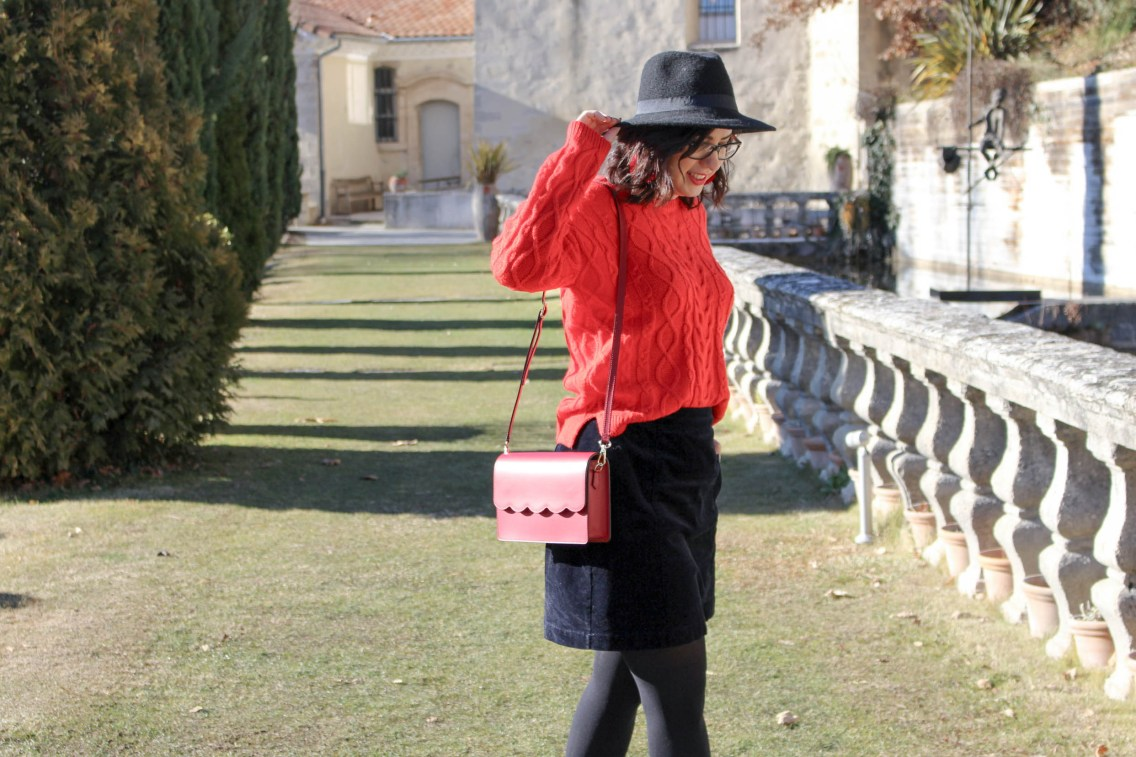 pull rouge torsade pimkie solde look hiver 14 mademoiselle e
