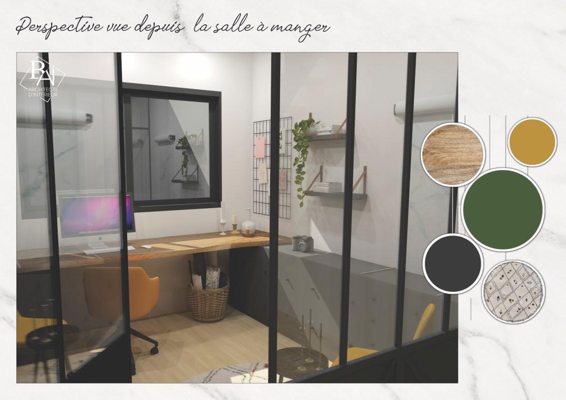Idées aménagement bureau - Plan 3D 1 mademoiselle-e x bai_b_architecteinterieur