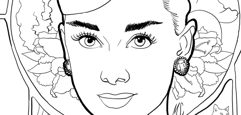 Coloriage : Audrey Hepburn I Mademoiselle Stef